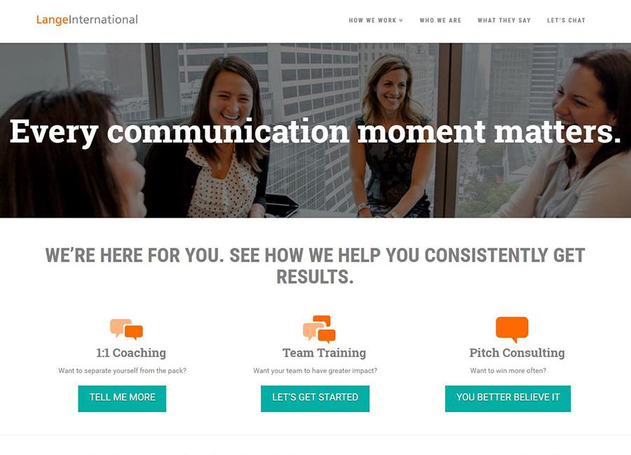 Screen shot Lange International website home page