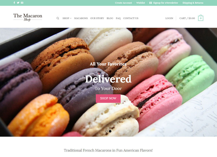 Screen shot The Macaron website home page