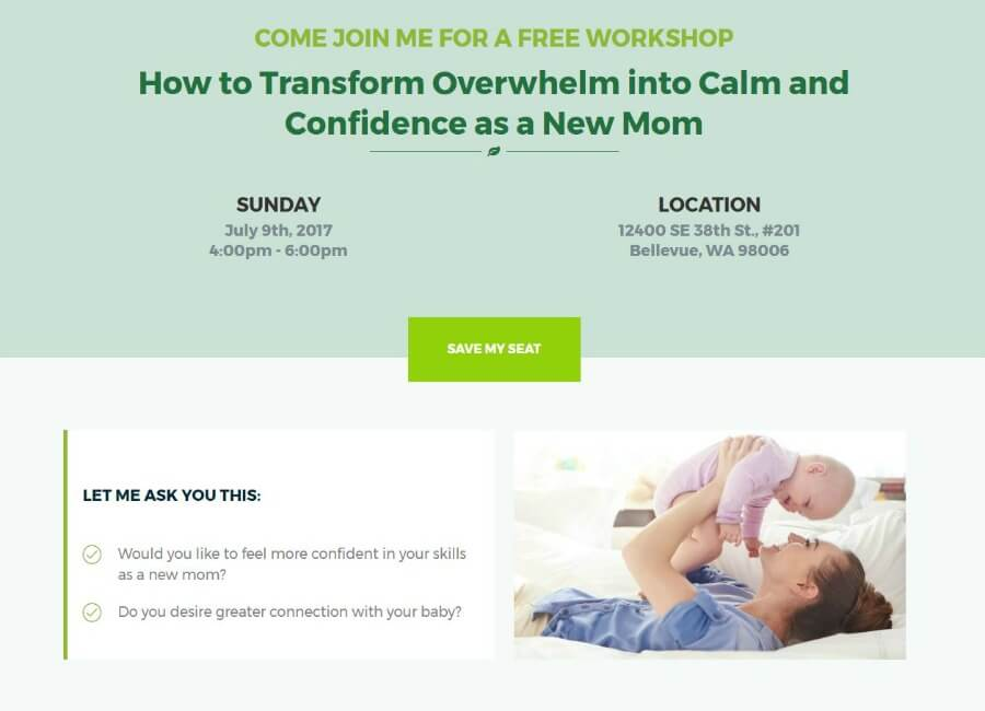 mother tree event landing page