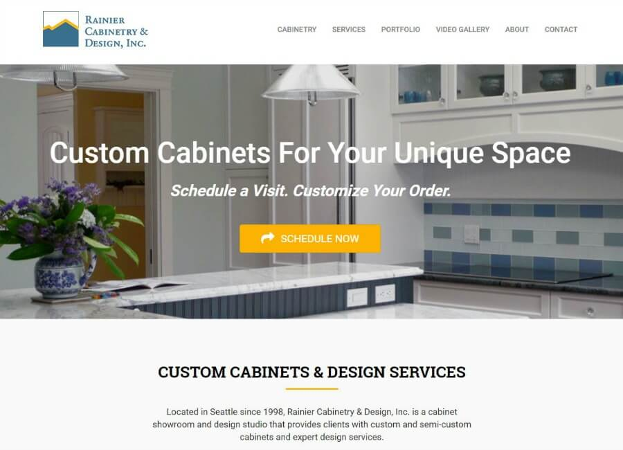 Rainier Cabinetry & Design website screen shot