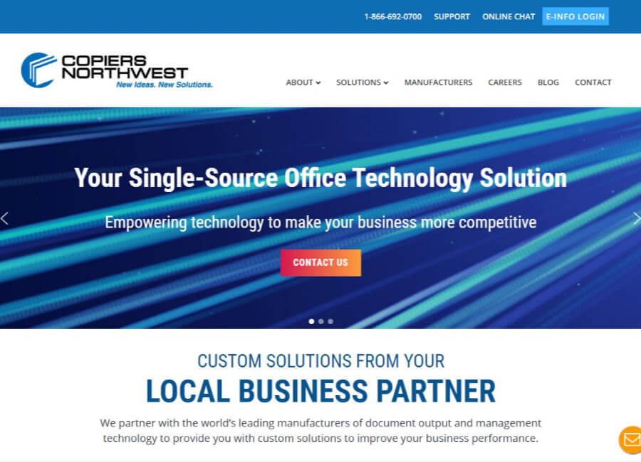 Copiers-Northwest-screen-shot-home-page