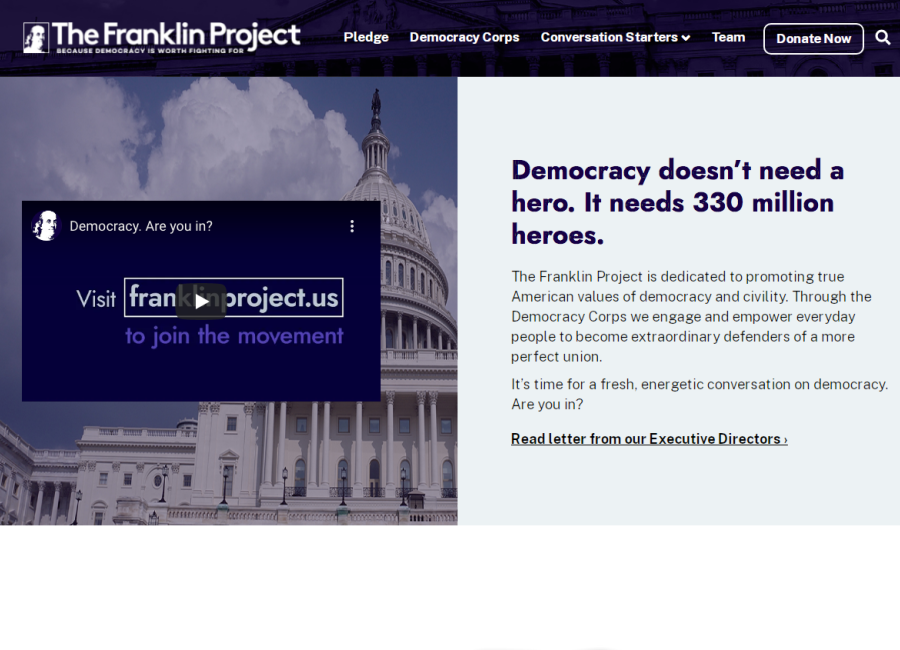 The Franklin Project website home page