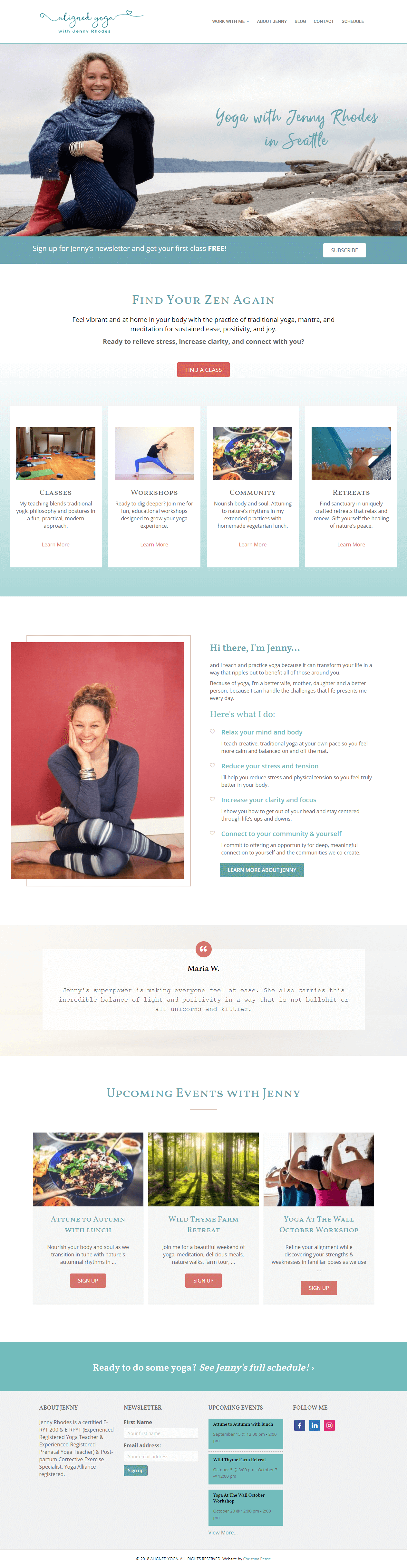 Aligned yoga with Jenny Rhodes home page