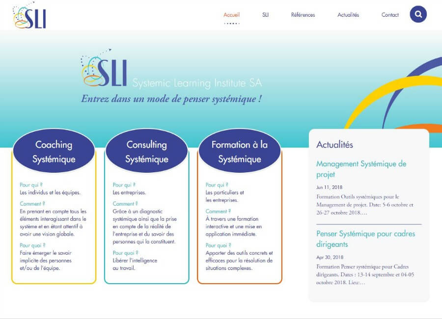 Systemic Learning Institute website home page