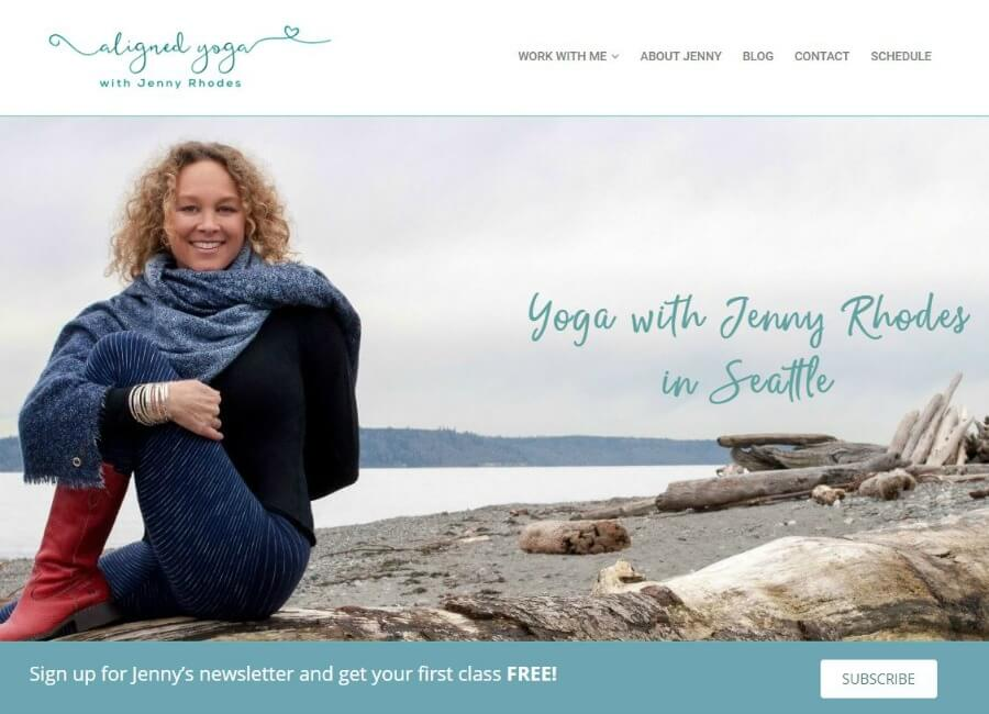 aligned yoga with Jenny Rhodes website home page