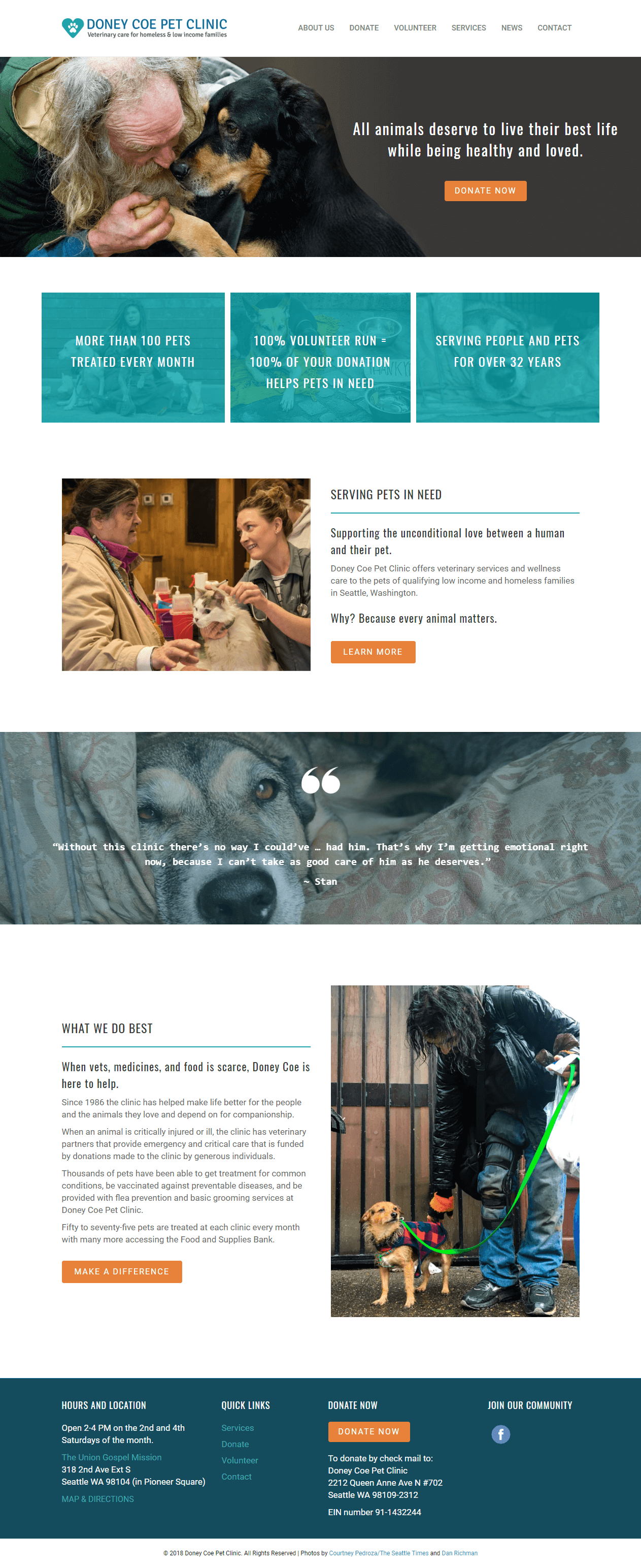 oney Coe Pet Clinic Seattle home page screen shot