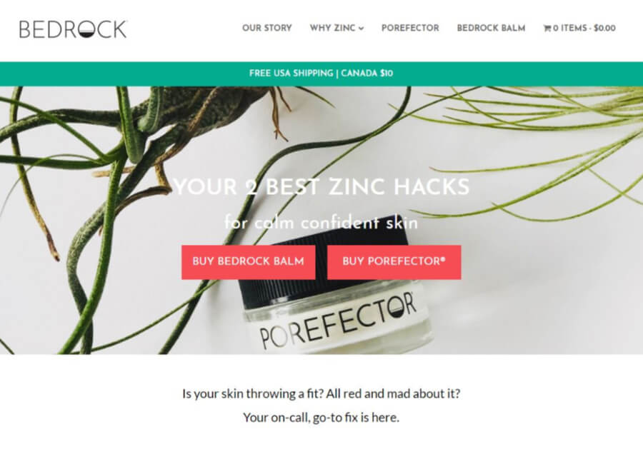 bedrock-skin-care-website-screen-shot